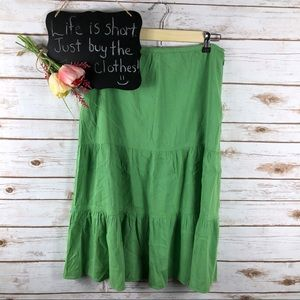 Theory green linen blend pleated tiered midi skirt